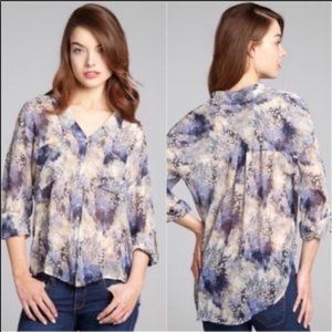 Free People Easy Rider Sheer Chiffon Button Down